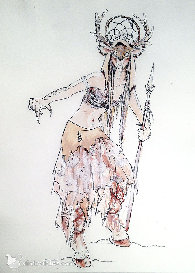 Costume sketch for Night Guardian