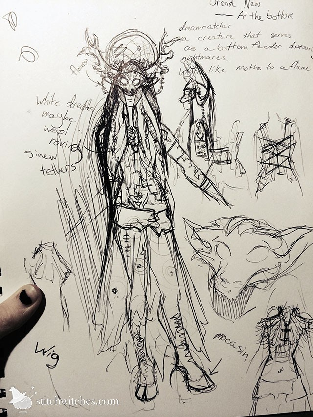 Rough sketch for night guardian costume design